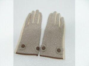 Echo Ivory/Gray Acrylic Wool Cashmere Blend Classy Gloves Women's M
