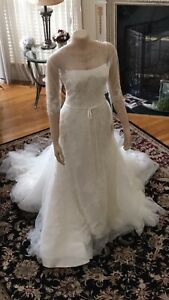 PRONOVIAS Bridal Gown Wedding Dress Size 12 W/Lace Overlay Gown Has Two Styles