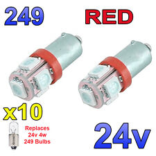 10 x Red 24v LED Side Light 249 BA9s T4W 5 SMD Bayonet Bright Bulbs HGV Truck