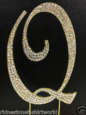"GOLD Plated Rhinestone  Monogram Letter ""Q""  Wedding Cake Topper  5"" inch high"
