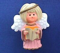Hallmark PIN Christmas Vintage ANGEL Pink CAROLING Holiday Brooch 1970s RARE