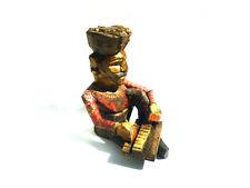 Alte Holzfigur Indien Musiker Harmonium Keyboard Handarbeit bemalt Holz bunt alt
