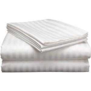 6 Piece Queen Size White Stripe Sheet Set 1000 Thread Count 100% Egyptian Cotton