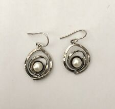 Vintage YAM Israel Sterling Silver Pearl Dangle Earrings