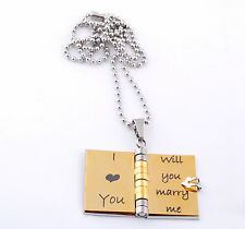 Personalized Silver Gold Stainless Steel Book Pendant Necklace Gift For Lover