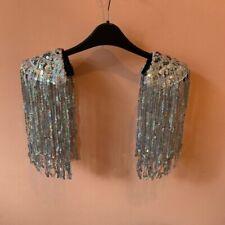 Sequin Shoulder Epaulettes In Silver Shimmer