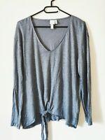 H&M Leinen Shirt Oberteil Knotenshirt Gr. XL blau  #LRZ806