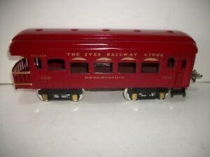 Vintage THE IVES  RAILWAY LINES Standard / Wide Gauge OBSERVATION CAR 186 restor