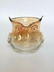 Vintage Blenko Amber Fade Hand-blown Owl Vase, Trinket bowl or Candle Holder