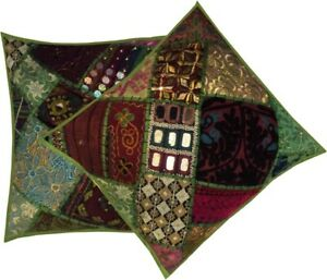 """33% OFF 16""""-2 GREEN TRENDY BANJARA MIRROR EMBROIDERY THROW CUSHION PILLOW COVERS"""