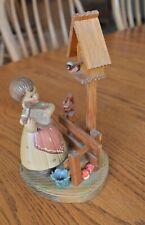 Anri figurine girl with harp birdhouse Squirrel fence