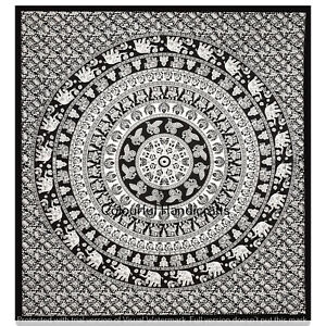 Indian Elephant Mandala Wall Decor Bedspread Queen Handmade Cotton Tapestries