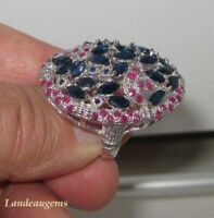 7 ct FLOWER SAPPHIRE RUBY SILVER RING