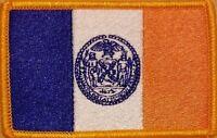 NEW YORK CITY Flag Iron-On Patch Police MC Biker Emblem GOLD Border #02