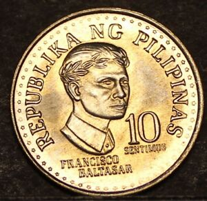 Philippines 10 Sentimos, 1975 RARE GEM UNC~Only 5,875 Minted~1st Year~Free Ship