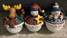 Snowball Ornaments Set Of 3 Moose, Penguin And Snowman