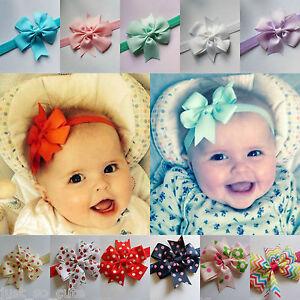 Baby Girls Bow Headband Hairband Soft Elastic Band Hair Accessories 40 colours