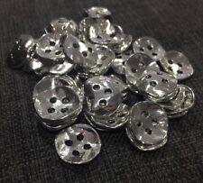 10 X 14mm Antique Silver Metal Buttons - Australian Supplier
