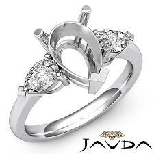 Diamond Engagement Ring Platinum 950 0.5Ct Pear Semi Mount Brilliant Three Stone