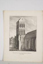 Lithographie 1828 Vue de la Tour normande de l'Eglise de Sousmont arr de Falaise