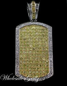 NEW XL Mens White Gold WGP CANARY YELLOW Simulated Diamond Dogtag HipHop Pendant