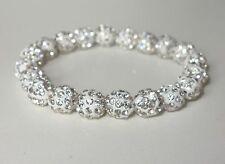 A209- Shamballa Armband - NEU - Weiß Strass Steine Perlen Glitzer Mädchen Damen
