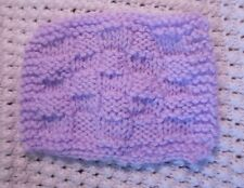 "Mini Hand knitted Blanket-rug 4in x 6""  lilac-lavender for ooak doll-house"