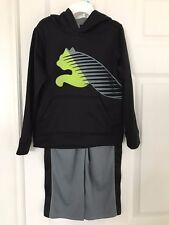 PUMA NWT Boy 2PC Track Suit Top Sweatshirt Hoodie Pant Warm Up Cat Black Gray 5