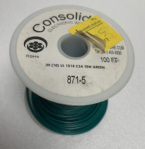 36 ft of 20 AWG Gauge Stranded Hook Up Wire Green UL 1015 / CSA, 600 Volt