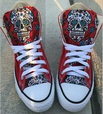 Sugar skull red flats casual shoes canvas fabric high-top boots Skull shoes