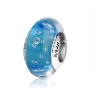 PANDACHARMS Türkise Luftblasen Glas Charm 925 Silber passt zu Pandora Moments
