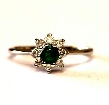 14k white gold .24ct SI2 H womens diamond emerald ring 2.4g estate vintage