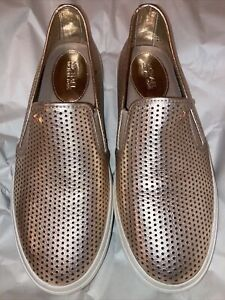 Michael Kors Gold White Leather Flat Shoes New  7.5 Women's