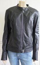 SANTACROCE black quilted 100% leather biker jacket - I46 - UK12-14