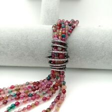 30'' 7 Strands Mixed Color Agate White freshwater Pearl  CZ Long Necklace