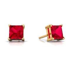 14Kt Yellow Gold Created Ruby Princess Cut Stud Earrings
