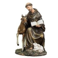 "New! 8.5"" Seated St Francis Patron of Animals Figurine Statue Saint 90850"