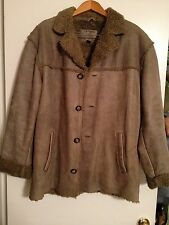 Guess Men's Distressed Brown Leather Button Down Coat Jacket Size L