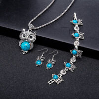Wholesale Retro Blue Turquoise Owl Pendant Necklace Earrings Bracelet Set