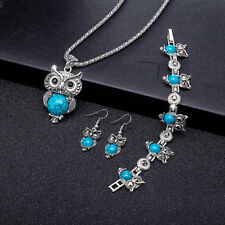 Retro Blue Turquoise Owl Pendant Necklace Earrings Bracelet Set