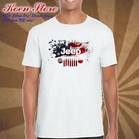 new JEEP Logo American made US vintage cadillac mens WHITE T shirt S to 4XLT