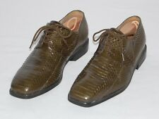 Giorgio Brutini Snakeskin Oxford Derby Loafers Mens Size 10M Exotic Olive Green