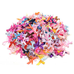 500X Assorted Mini Satin Ribbon Bows Tied Craft Embellishment Wedding Decor Hi