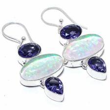 """Triplet Fire Opal, Tanzanite Gemstone Jewelry Earring 2.1""""  GJ-2642"""