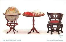 THE QUEEN'S DOLL HOUSE GLOBE CHESS SET LIBRARY FURNITURE ENGLAND POSTCARD (1910)