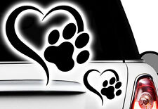 Love coeur patte, dog, cat, éminence grise pour chien patte xaufkleber sticker x5