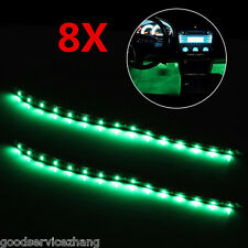 8X 15LED 30cm Car Motor Vehicle Flexible Waterproof Strip Light Green Interior