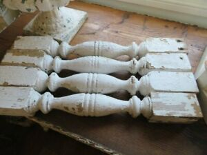 4 WONDERFUL Old Architectural POSTS BALUSTERS SPINDLES Chippy WHITE PATINA