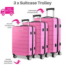 3x Pink Hard Shell Suitcase Luggage Suit Case Bag Trolley Travel TSA Lock Light