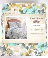 Manor House Queen Quilt Set Watercolor Floral Teal Brown Tan 100% Cotton new